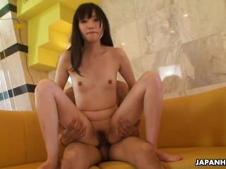 Small titty brunette Asian honey fucked by her skinny lover