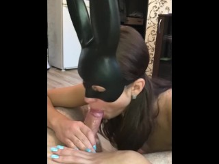 Girlfriend in a mask makes a gorgeous blowjob