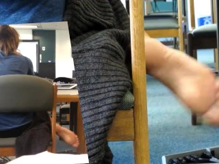 [Candid feet public library] single sole stretch and dangle -new-