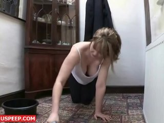 Girl cleaning house – Downblouse Brunette HD