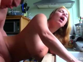 Horny busty milf fucks and moans