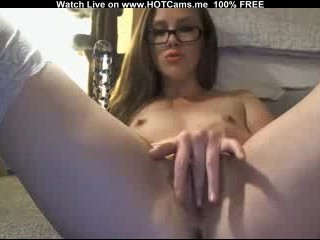 Hot Teen With Glasses Rubbing Her Pussy