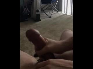GF jerks big dick with big cum explosion