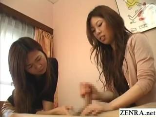 CFNM JAV clothed women give great handjob with huge cumshot