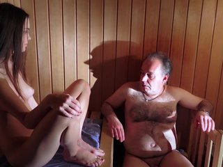 Lucky old guy fucks sweetie in the sauna