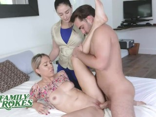 FamilyStrokes – Bossy Milf Watches Her Stepson Pound His Stepsister