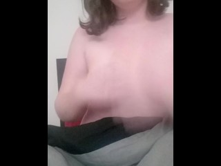 Playing with my young tits