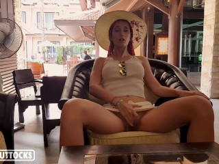 Hot Girl Masturbate Hairy Pussy in a Lounge – Outdoor Solo