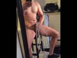 Hot Latino Jerks Off In Front Of His Mirror And Cums All Over It