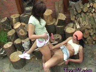 Teen housewife Cutting wood and munching