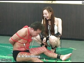Japanese dominatrix Risa laughs at the masochist who suffers