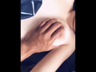 He loves rubbing on my titties