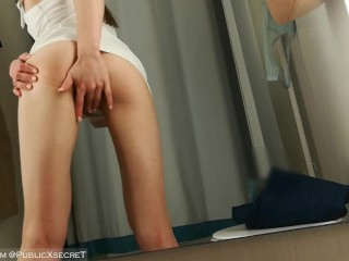 An anxious teen in a short skirt recorded her first solo in a fitting room