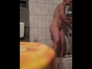 SPY CAM Naked redhead pissing on hidden camera