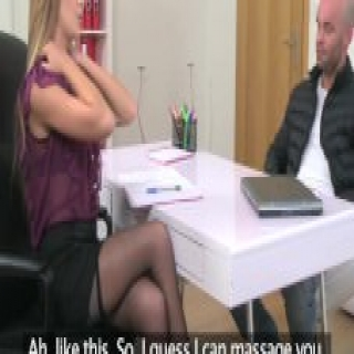 FemaleAgent Massage ends with sticky facial