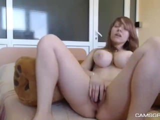Naughty Big Tits Camgirl Showing Her Goods