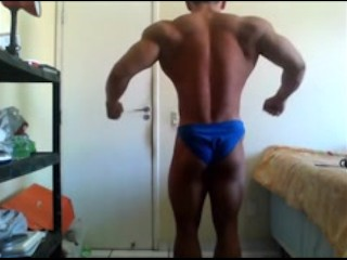 Young Bodybuilder Pec Bouncing and Flexing Show Off