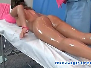 Brunette squirt and orgasms at massage