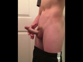 Teen in Nike shows his dick and body to the camera!