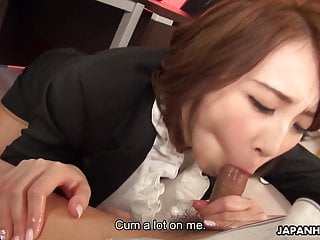 Japanese office lady, Aya Kisaki sucks dick, uncensored