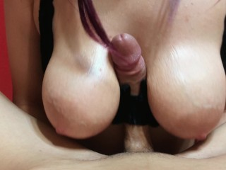 AMAZING СUMSHOT DURING TITFUCK WITH BRA / RUSSIAN BUSTY TEEN / CUM NIPPLES