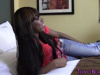 Ebony teen deep throats