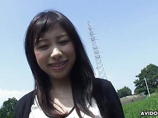 Cute Asian gal spreads legs outdoors for nice finger banging
