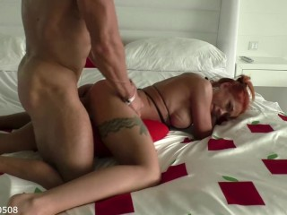 Young girl publicly sucked and was hard fucked at the hotel