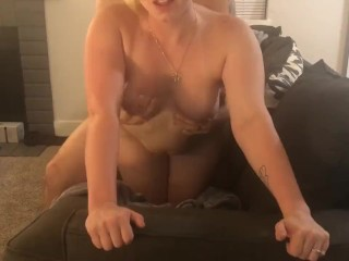 Blonde babe gives blowjob, cowgirl and gets fuck doggie style