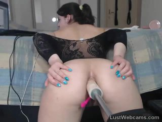 Ass fucked on cam by a machine