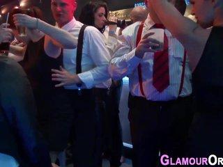 Glam babe sucks cock orgy
