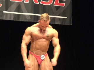 Sexy Tatted Bodybuilder Posing on Stage