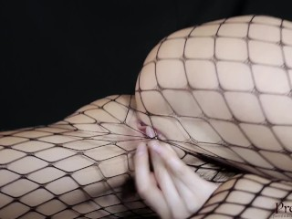 Young Horny Fit Girl in Fishnets gets body shaking Orgasm