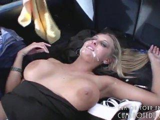 Young Blonde Slut Taking A Fat Public Facial