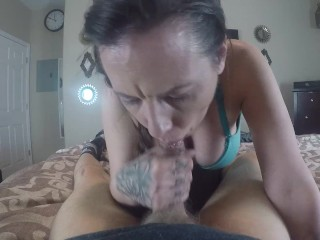 Lesbian gives Blowjob and titty fuck till i cumm