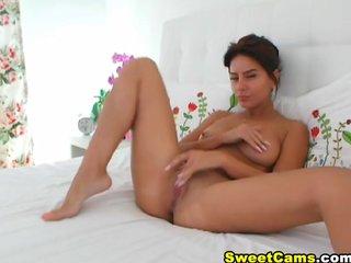 Russian Brunette Finger Fucked her Tight Puss